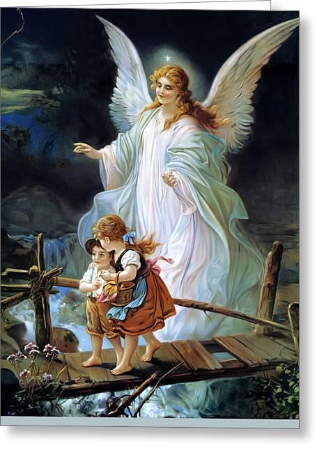 Guardian Angel Watching Over Children On Bridge Greeting Card by Lindberg