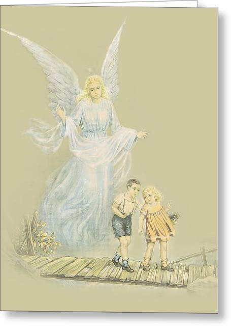 Guardian Angel Watching Over Kids Greeting Card