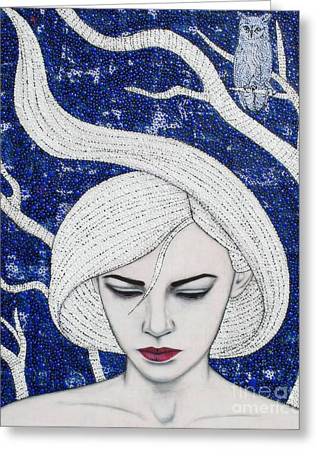 Greeting Card featuring the mixed media Guardian Of The Night by Natalie Briney