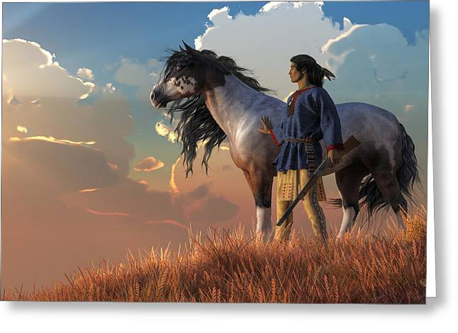 Greeting Card featuring the digital art Guardians Of The Plains by Daniel Eskridge