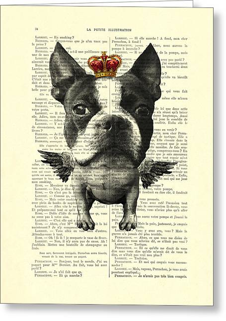 Boston Terrier With Wings And Red Crown Vintage Illustration Collage Greeting Card by Madame Memento