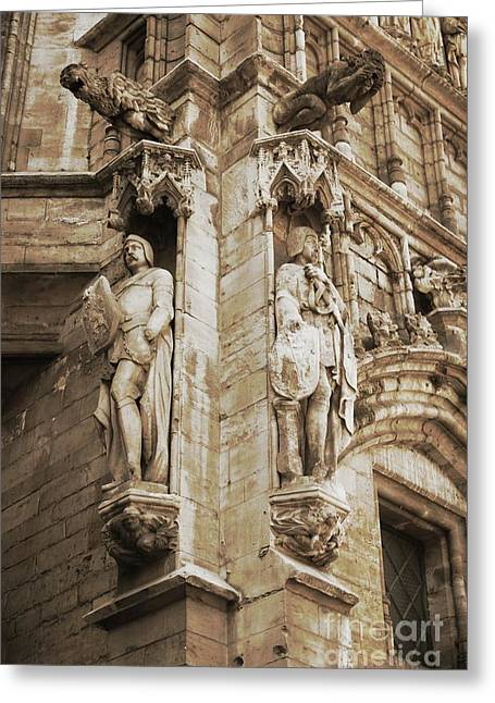 Guarding The Grand Place In Sepia Greeting Card