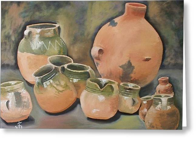 Guatemala Ceramic Pots  Greeting Card by Jose Velasquez