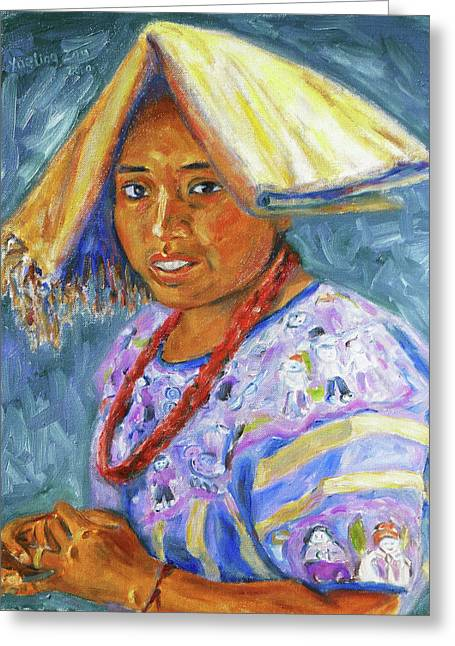 Greeting Card featuring the painting Guatemala Impression II by Xueling Zou
