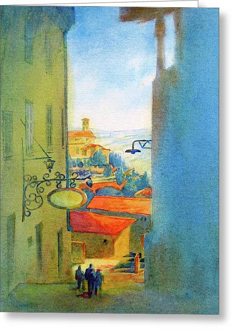Gubbio Down The Hill Greeting Card by Virgil Carter