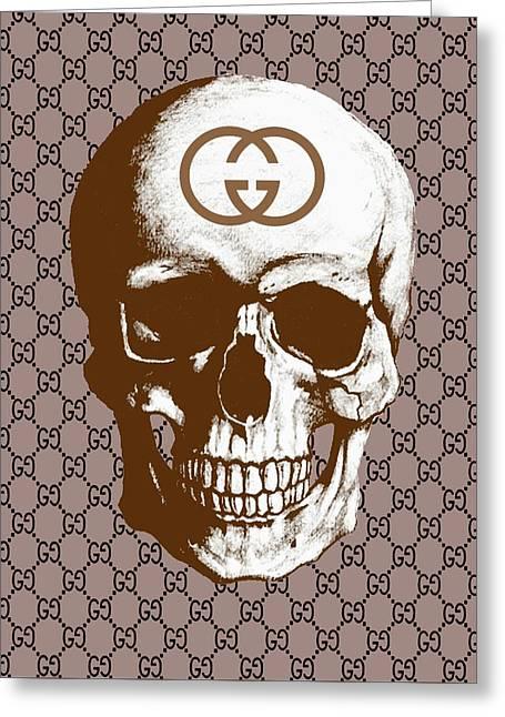 Gucci Poster Gucci Print Gucci Skull Brown Print Greeting Card