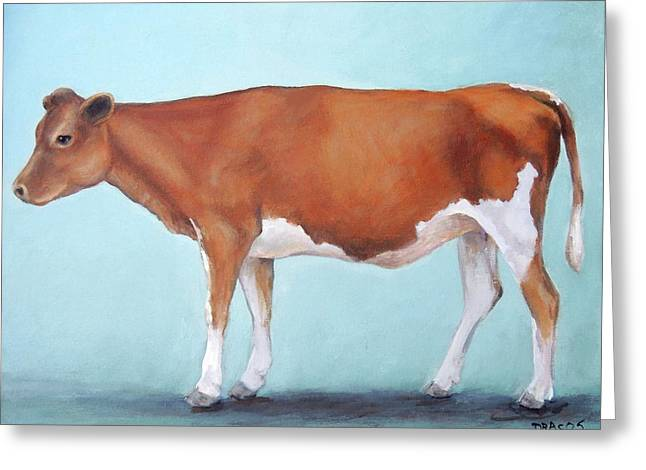 Guernsey Cow Standing Light Teal Background Greeting Card