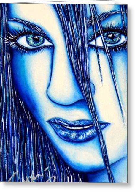 Guess U Like Me In Blue Greeting Card by Joseph Lawrence Vasile