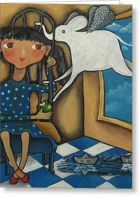 Girl And Animals Framed Prints Greeting Cards - Guest Greeting Card by Yelena Dyumin