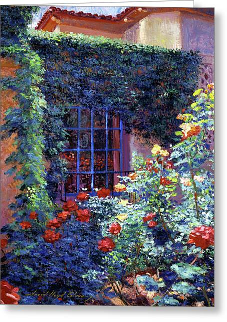 Guesthouse Rose Garden Greeting Card by David Lloyd Glover