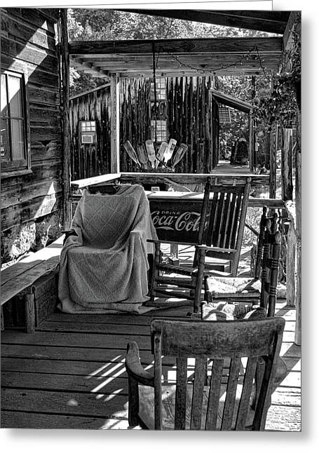 Guilford Mill Porch In Bw Greeting Card