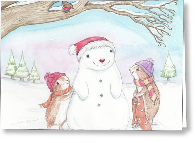 Guinea Pig Babies In The Snow Greeting Card