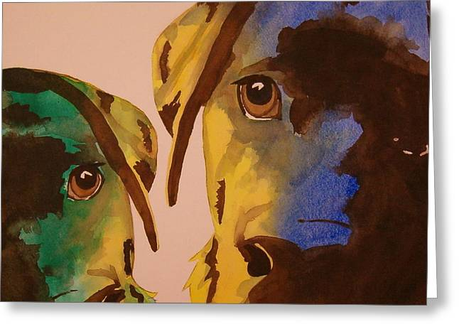 Guiness Green And Bella Blue Greeting Card by Lynn Babineau
