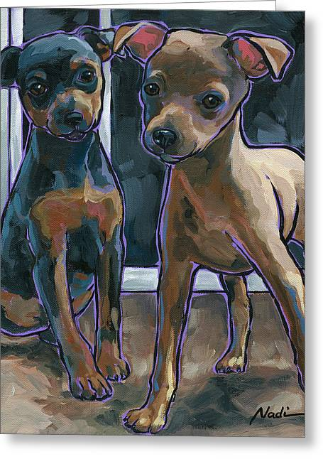 Greeting Card featuring the painting Guinness And Bailey by Nadi Spencer