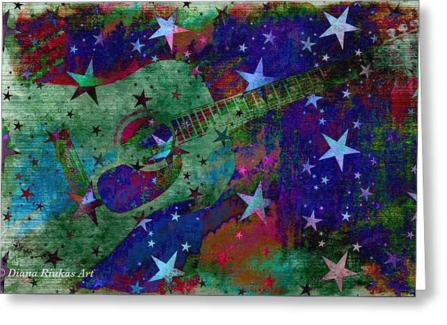 Guitar And Stars Greeting Card by Diana Riukas
