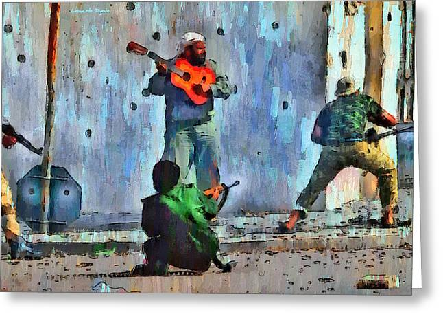 Guitar At Battlefield - Pa Greeting Card by Leonardo Digenio