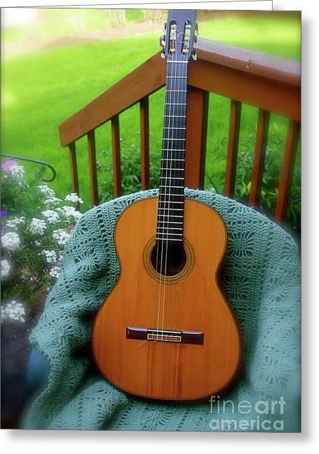 Guitar Awaiting Greeting Card