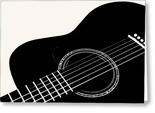 Guitar, Black And White,  Greeting Card