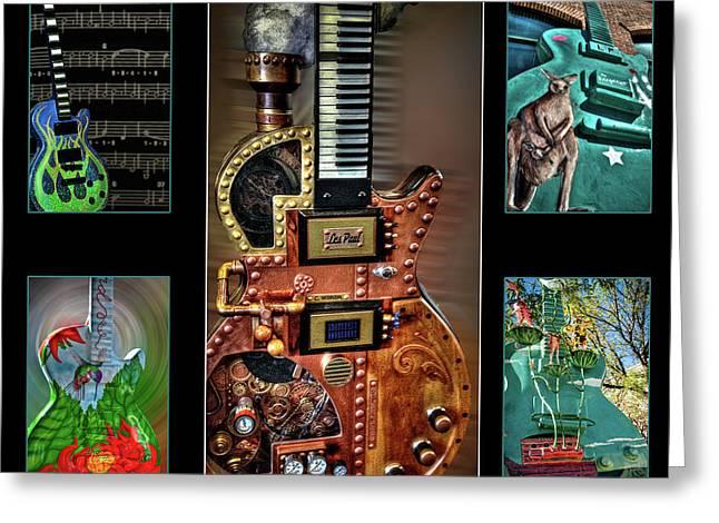 Guitar City Greeting Card by Deborah Klubertanz