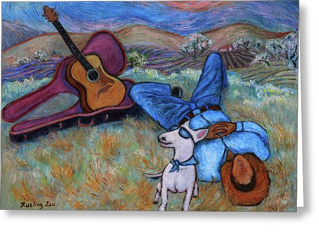 Guitar Doggy And Me In Wine Country Greeting Card