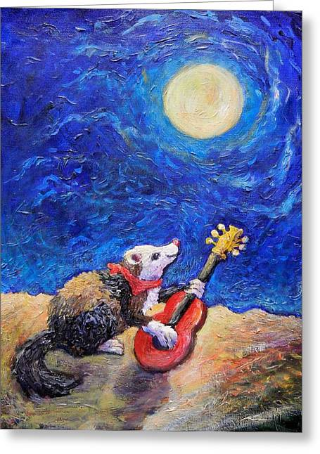 Guitar Ferret Greeting Card by Sebastian Pierre