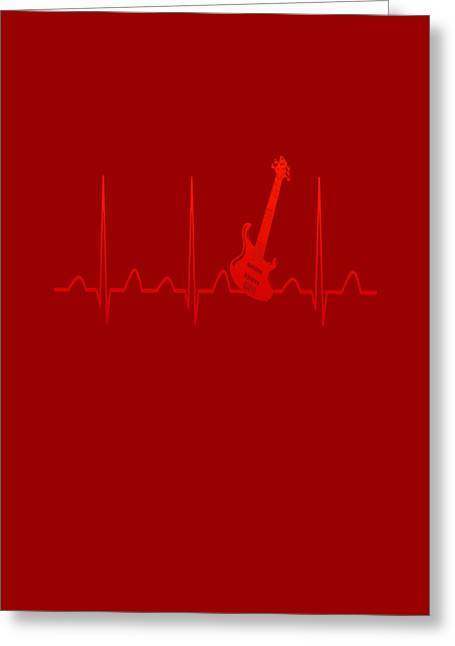 Guitar Heartbeat Greeting Card by Sophia