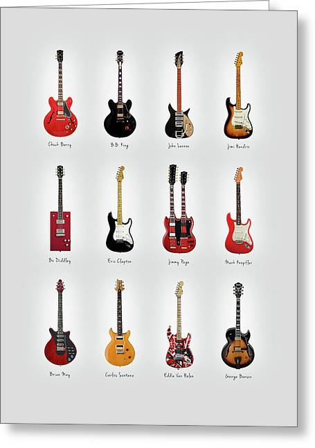 Guitar Icons No1 Greeting Card by Mark Rogan