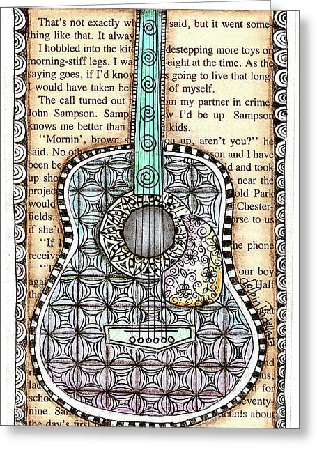 Guitar In A Book Greeting Card by Delein Padilla