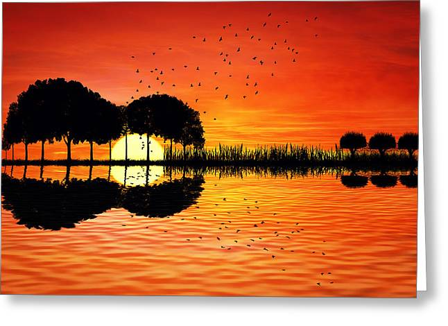 Guitar Island Sunset Greeting Card