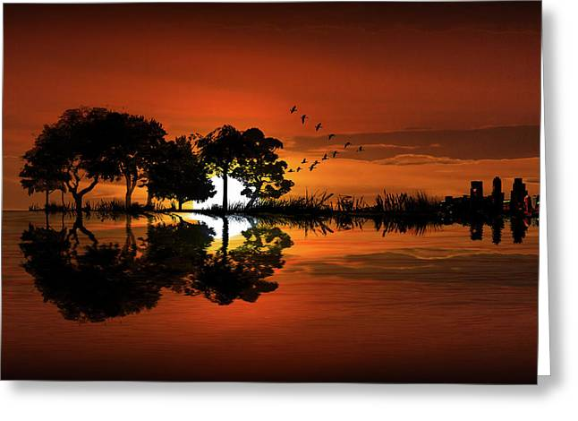 Guitar Landscape At Sunset Greeting Card