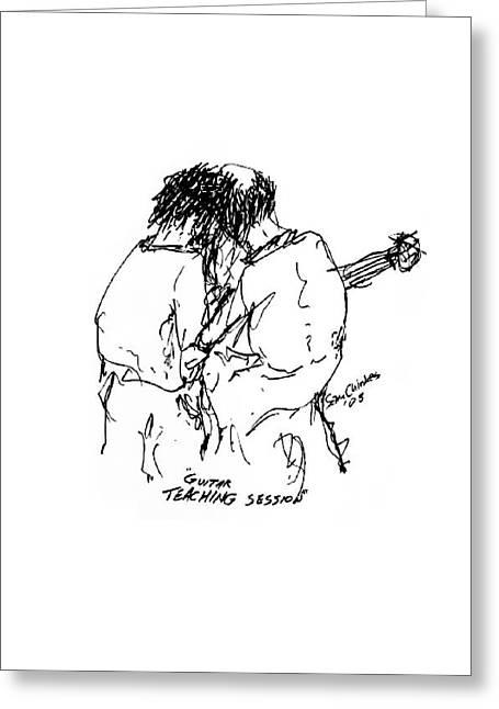 Guitar Lesson Greeting Card by Sam Chinkes