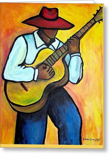 Guitar Man Greeting Card by Diane Britton Dunham