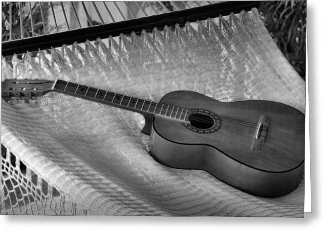 Guitar Monochrome Greeting Card by Jim Walls PhotoArtist