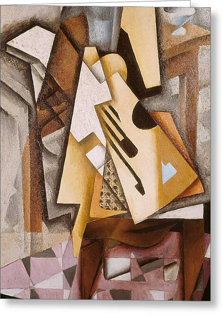 Guitar On A Chair Greeting Card by Juan Gris