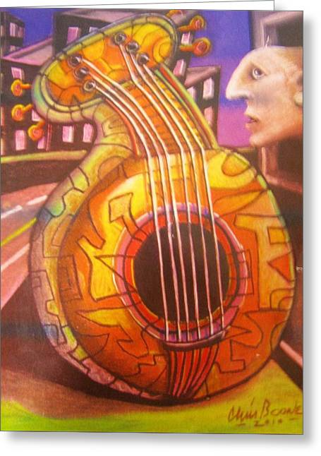 Guitar Out My Window Greeting Card by Chris Boone