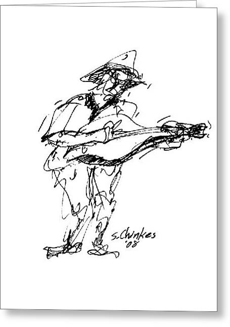 Guitar Practice Greeting Card by Sam Chinkes