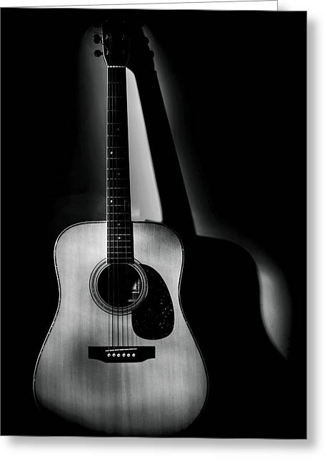 Guitar Shadows Black And White Greeting Card