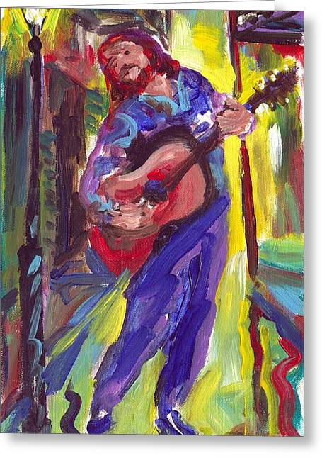 Guitar Solo Greeting Card by Saundra Bolen Samuel