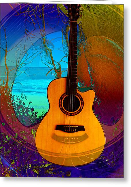 Greeting Card featuring the digital art Guitar Tree by Shadowlea Is