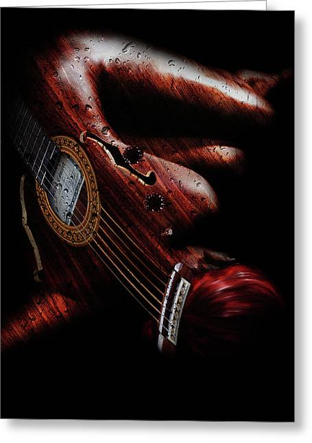 Guitar Woman Greeting Card by Marian Voicu