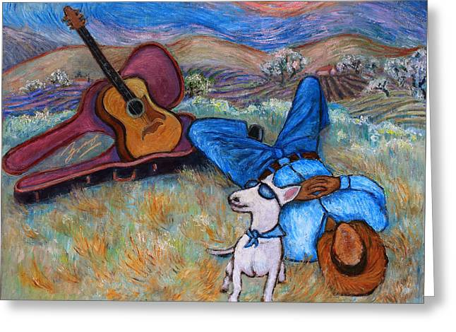 Greeting Card featuring the painting Guitar Doggy And Me In Wine Country by Xueling Zou