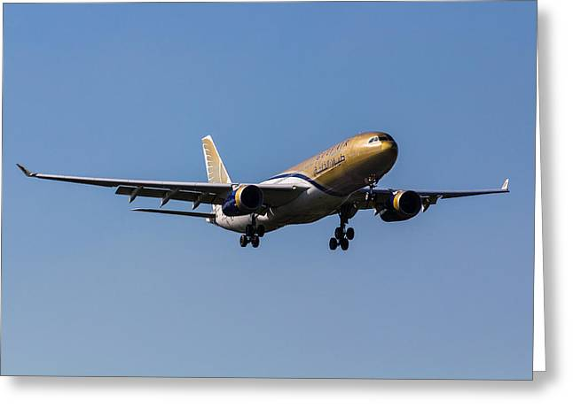 Gulf Air Airbus A330 Greeting Card by David Pyatt