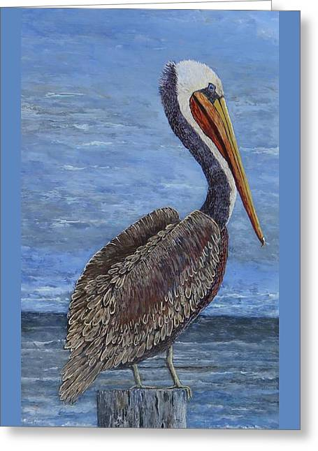 Gulf Coast Brown Pelican Greeting Card by Suzanne Theis