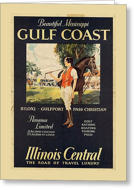 Gulf Coast - Illinois Central - Vintage Poster Vintagelized Greeting Card