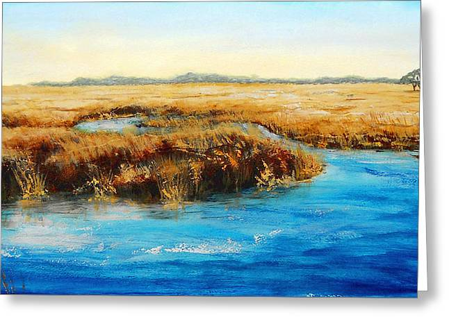 Greeting Card featuring the painting Gulf Coast Marsh I Original Fine Art Painting by G Linsenmayer
