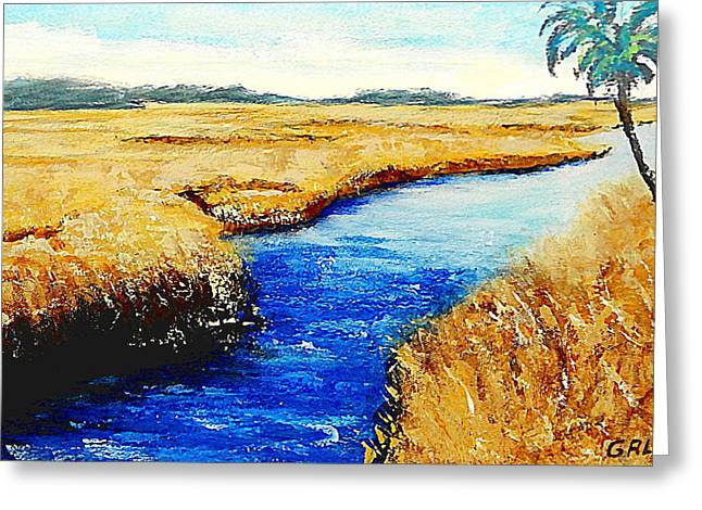Greeting Card featuring the painting Gulf Coast Marsh II Detail Original Fine Art Painting by G Linsenmayer