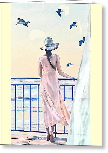 Greeting Card featuring the digital art Gulf Coast Morning by Jane Schnetlage