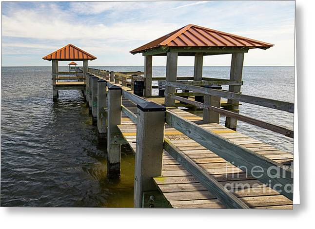Greeting Card featuring the photograph Gulf Coast Pier by Ron Sadlier