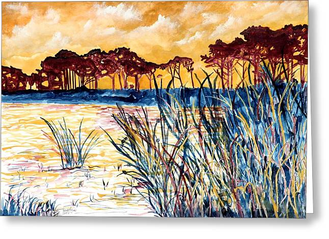 Gulf Coast Seascape Tropical Art Print Greeting Card by Derek Mccrea