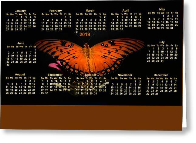 Gulf Fritillary Butterfly On Poster Calendar 2018 Greeting Card